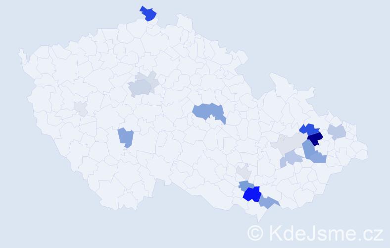 Příjmení: 'Frídl', počet výskytů 55 v celé ČR