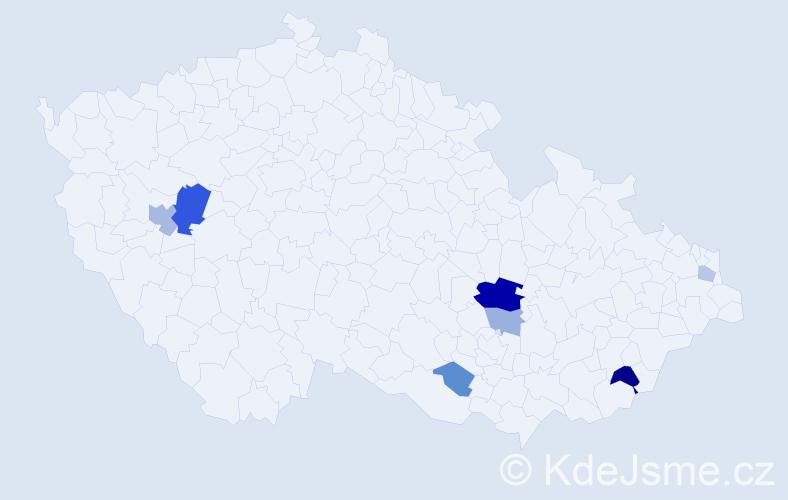 Příjmení: 'Burděj', počet výskytů 15 v celé ČR