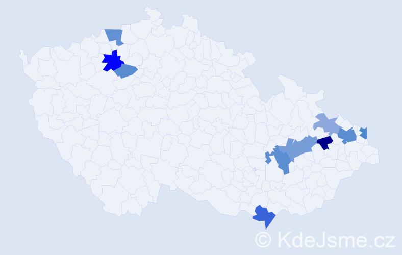 Příjmení: 'Kubištíková', počet výskytů 20 v celé ČR