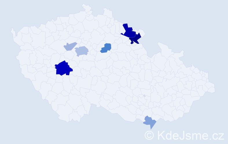 Příjmení: 'Haderer', počet výskytů 21 v celé ČR