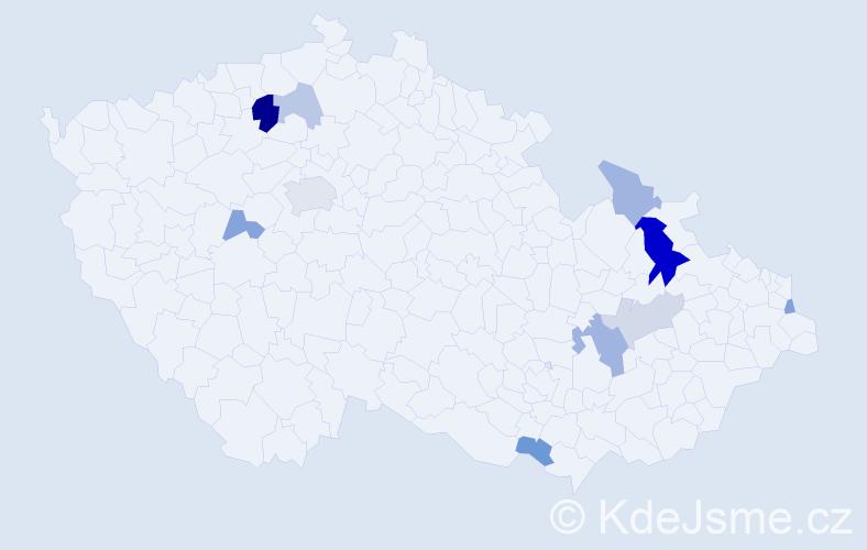 Příjmení: 'Kaduková', počet výskytů 20 v celé ČR