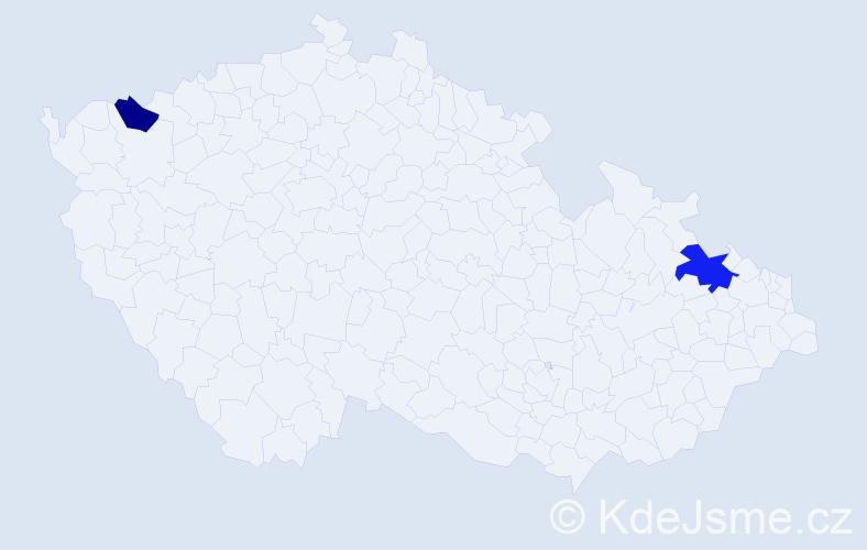 Příjmení: 'Bajužík', počet výskytů 3 v celé ČR
