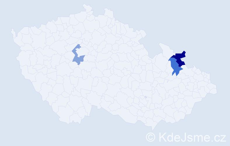 Příjmení: 'Halan', počet výskytů 4 v celé ČR