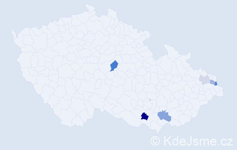 Příjmení: 'Beňušková', počet výskytů 6 v celé ČR