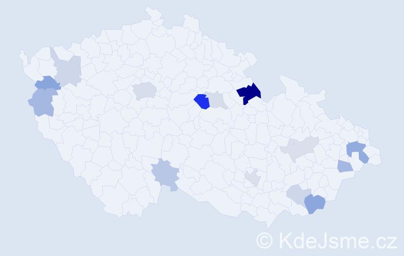 Příjmení: 'Gašparovič', počet výskytů 30 v celé ČR