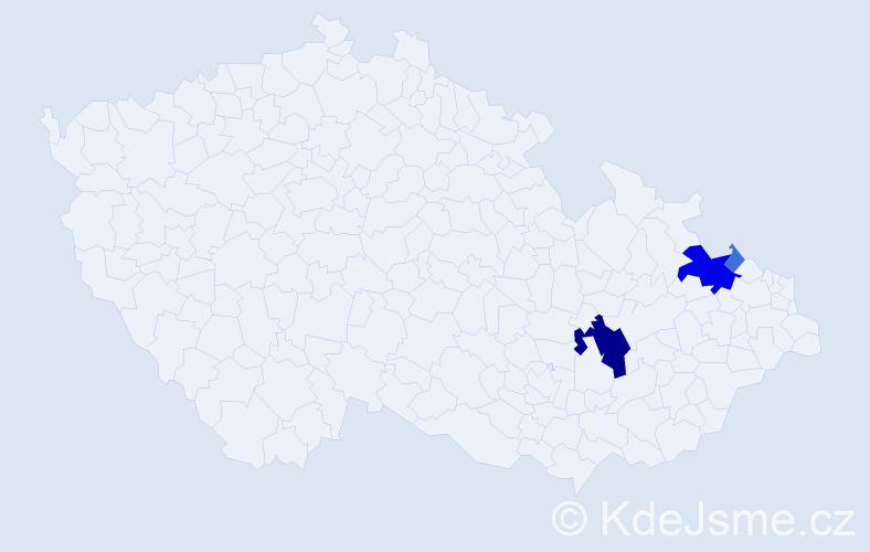 Příjmení: 'Cygal', počet výskytů 14 v celé ČR