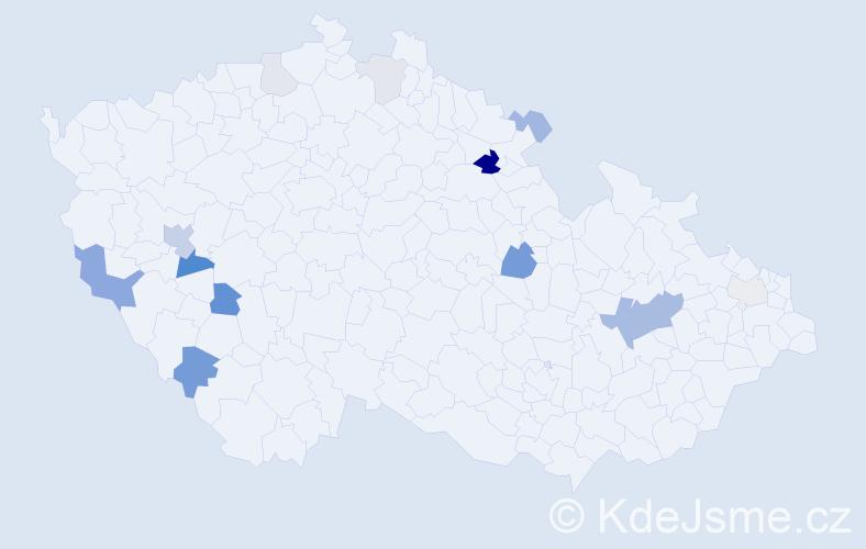 Příjmení: 'Hop', počet výskytů 33 v celé ČR