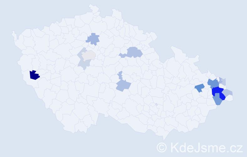 Příjmení: 'Gadlina', počet výskytů 33 v celé ČR