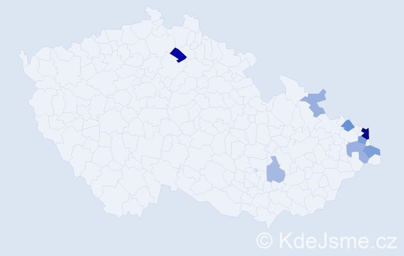 Příjmení: 'Kolarz', počet výskytů 22 v celé ČR