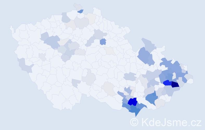 Příjmení: 'Janošek', počet výskytů 385 v celé ČR