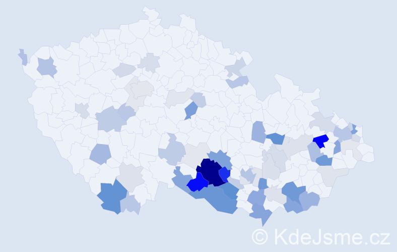 Příjmení: 'Bazala', počet výskytů 208 v celé ČR