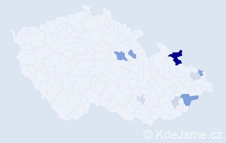Příjmení: 'Gojný', počet výskytů 23 v celé ČR