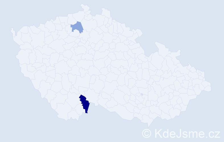 Příjmení: 'Jardine', počet výskytů 3 v celé ČR