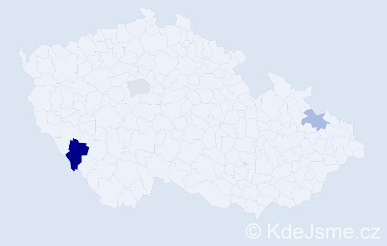 Příjmení: 'Kieslinger', počet výskytů 5 v celé ČR