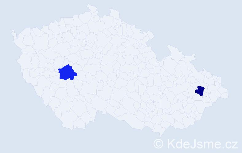 Příjmení: 'Kremićová', počet výskytů 2 v celé ČR