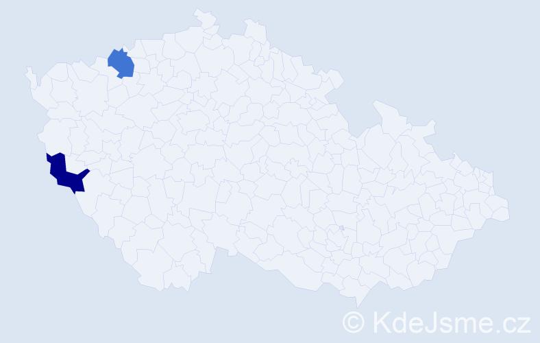 Příjmení: 'Kočkovská', počet výskytů 2 v celé ČR
