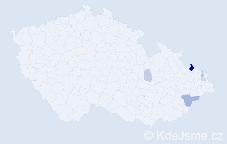 Příjmení: 'Kancner', počet výskytů 18 v celé ČR