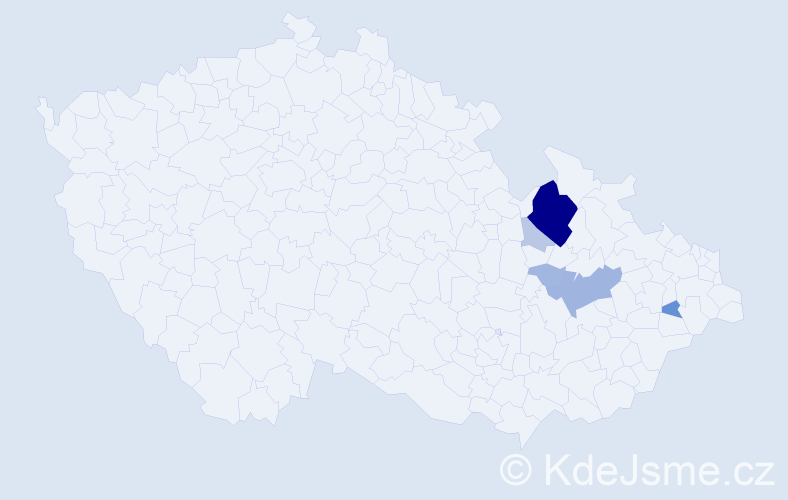 Příjmení: 'Jenčke', počet výskytů 27 v celé ČR