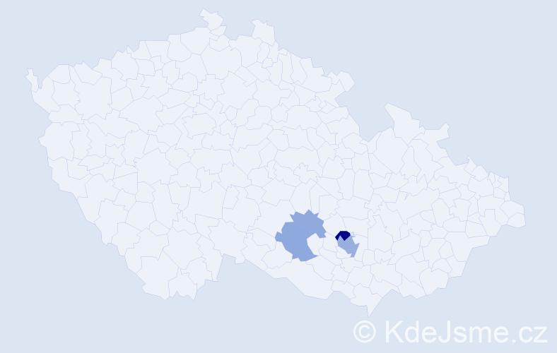 Příjmení: 'Chodáková', počet výskytů 12 v celé ČR