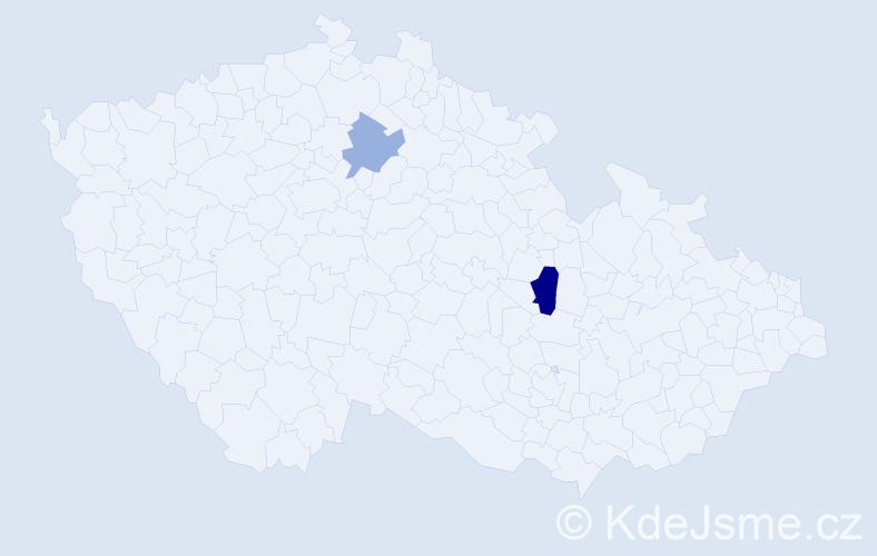 Příjmení: 'Fedrzelová', počet výskytů 3 v celé ČR