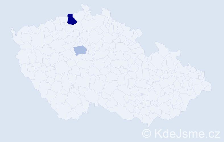 Příjmení: 'Emenike', počet výskytů 2 v celé ČR