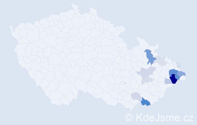 Příjmení: 'Brantál', počet výskytů 33 v celé ČR