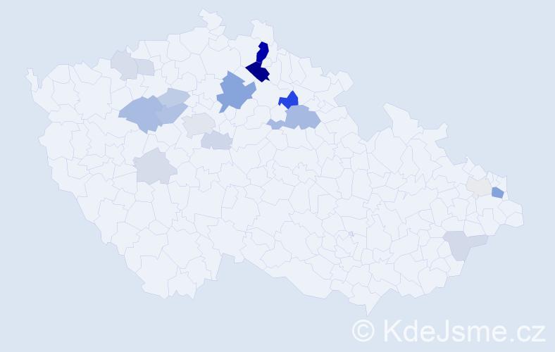 Příjmení: 'Eršilová', počet výskytů 55 v celé ČR