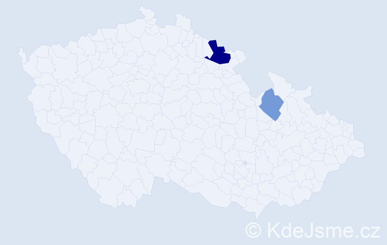 Příjmení: 'Lantošiová', počet výskytů 4 v celé ČR