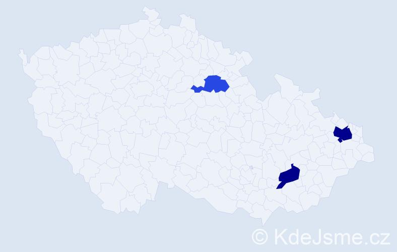 Příjmení: 'Gúcky', počet výskytů 5 v celé ČR