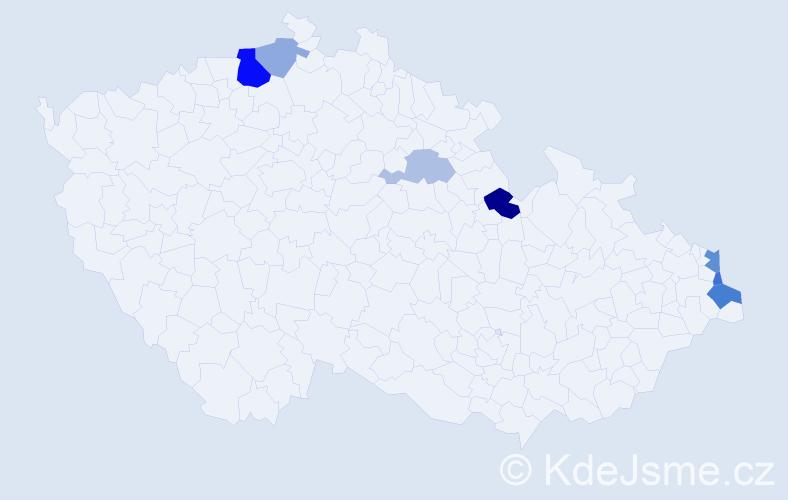 Příjmení: 'Kaczynská', počet výskytů 14 v celé ČR