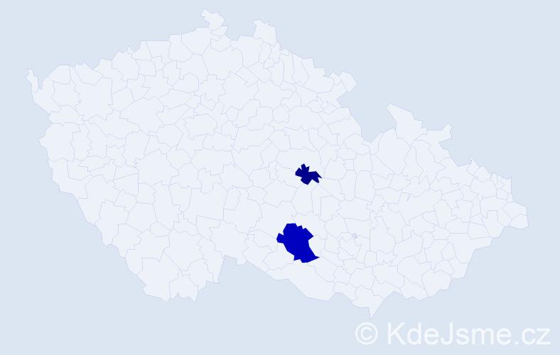Příjmení: 'Číháková', počet výskytů 4 v celé ČR