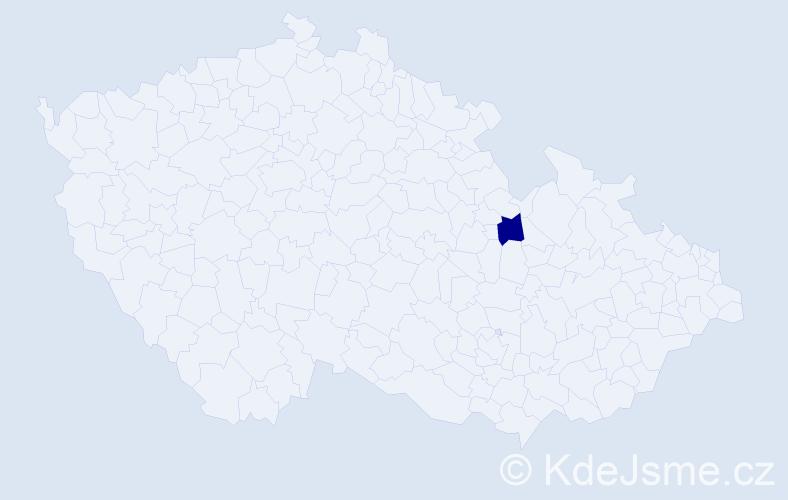 """Příjmení: '""""Chládková Šemberová""""', počet výskytů 1 v celé ČR"""