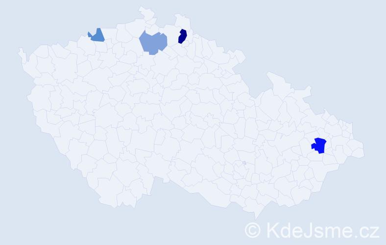Příjmení: 'Lackovský', počet výskytů 7 v celé ČR