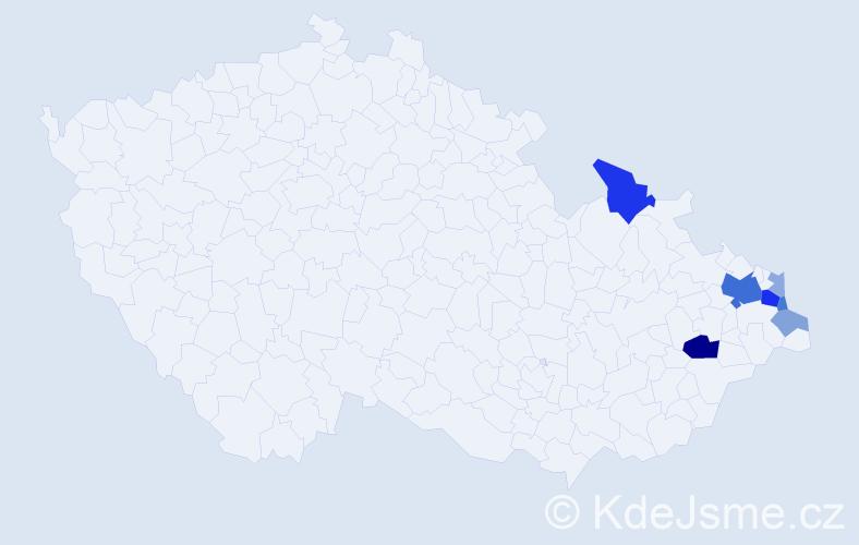Příjmení: 'Kabiesz', počet výskytů 20 v celé ČR