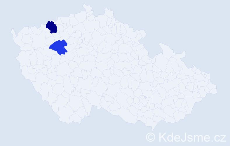 Příjmení: 'Adám', počet výskytů 3 v celé ČR