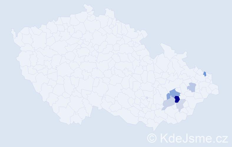 Příjmení: 'Konečník', počet výskytů 12 v celé ČR