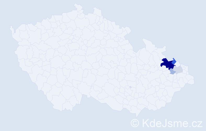 Příjmení: 'Hadamčíková', počet výskytů 27 v celé ČR