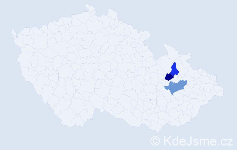 Příjmení: 'Ganiec', počet výskytů 13 v celé ČR