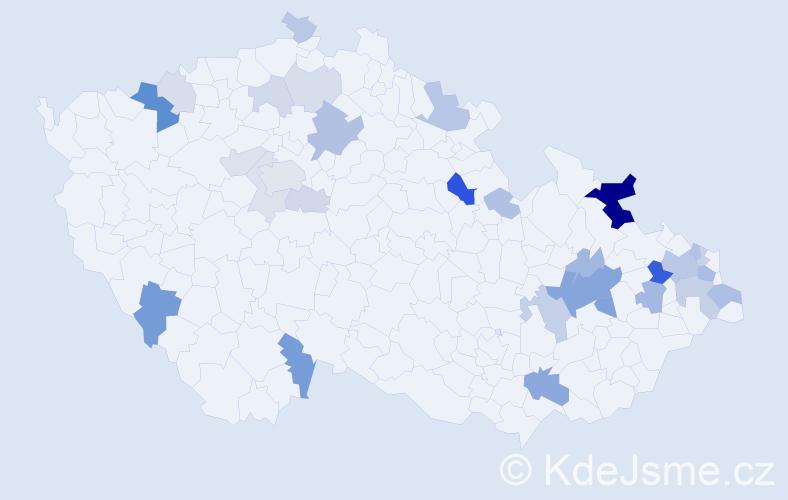 Příjmení: 'Čanecký', počet výskytů 78 v celé ČR
