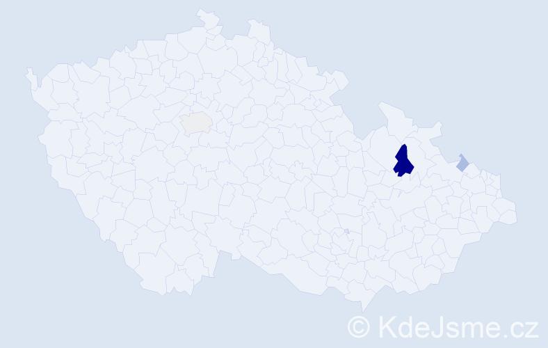 Příjmení: 'Čušková', počet výskytů 16 v celé ČR