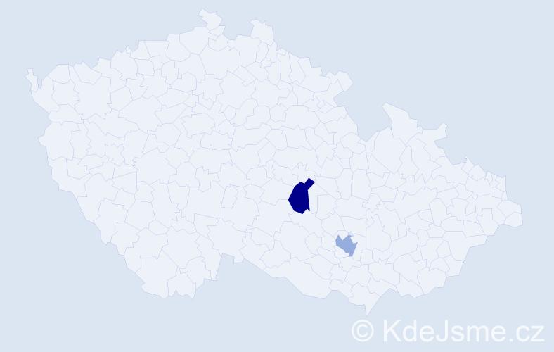 Příjmení: 'Cočev', počet výskytů 4 v celé ČR
