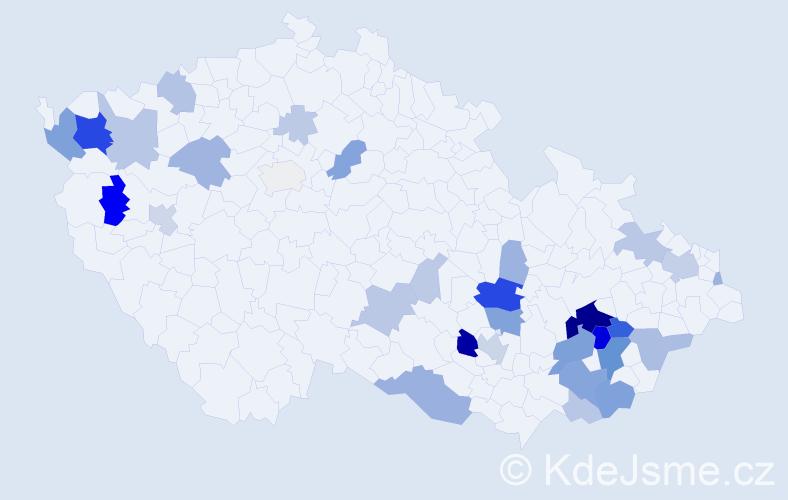 Příjmení: 'Kalabusová', počet výskytů 104 v celé ČR