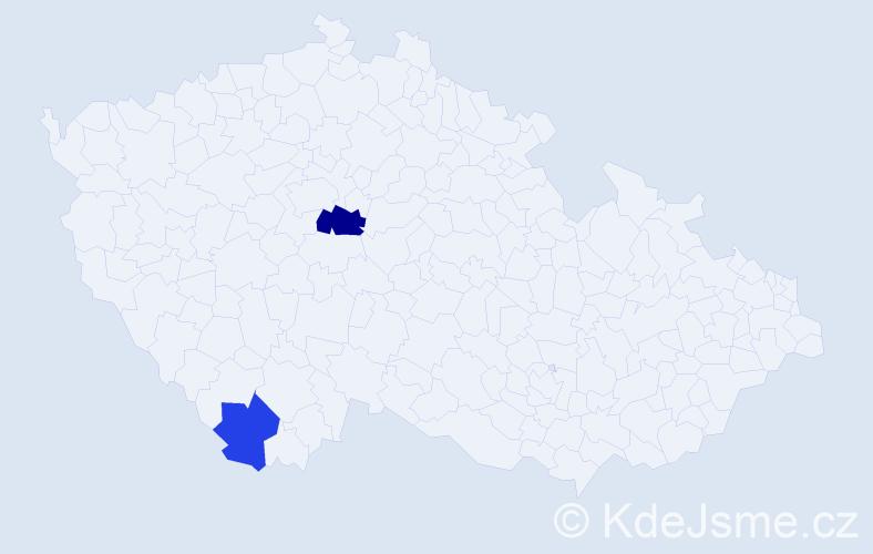 Příjmení: 'Humlach', počet výskytů 3 v celé ČR