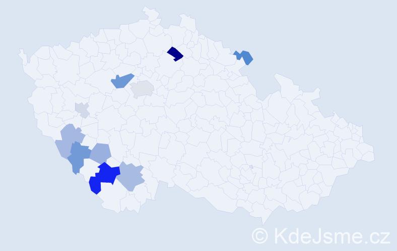 Příjmení: 'Eyblová', počet výskytů 19 v celé ČR