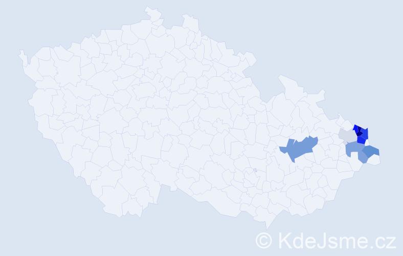 Příjmení: 'Kempny', počet výskytů 23 v celé ČR