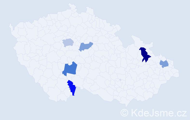 Příjmení: 'Cesnak', počet výskytů 13 v celé ČR