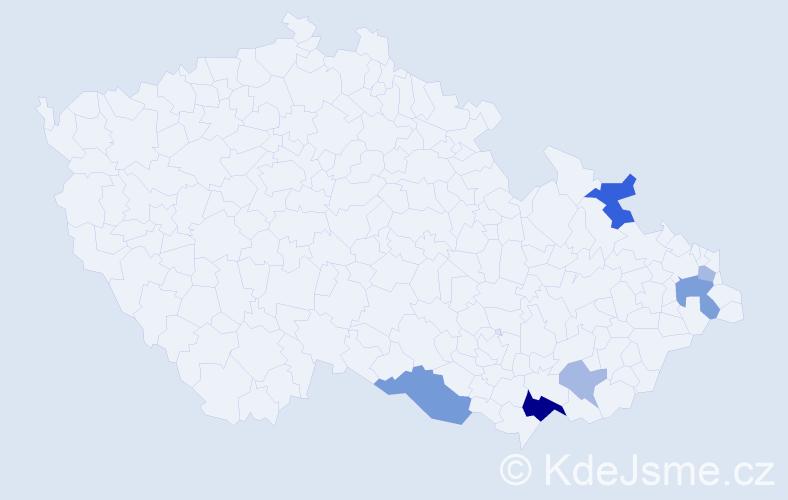 Příjmení: 'Ďurníková', počet výskytů 13 v celé ČR
