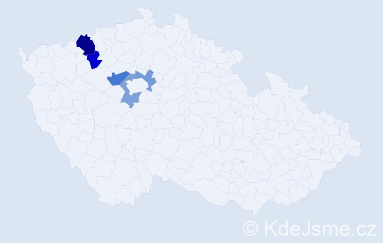 Příjmení: 'Knížka', počet výskytů 8 v celé ČR