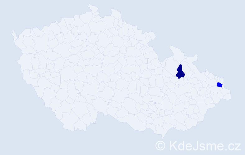 Příjmení: 'Baránka', počet výskytů 5 v celé ČR