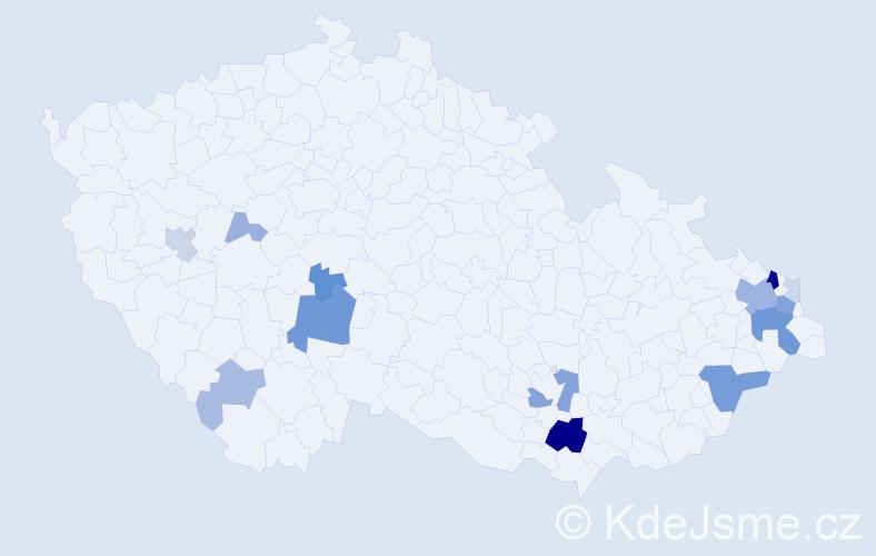 Příjmení: 'Cedivoda', počet výskytů 48 v celé ČR